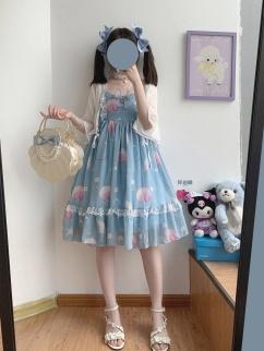 Soft Light Shell Sweetheart Neckline Print Lolita Dress JSK by Sleepy Doll