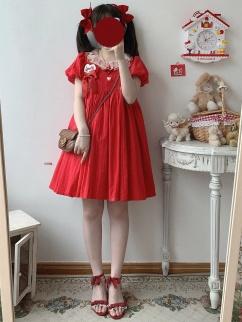 Sweetheart Tart Vintage Red Short Puff Sleeves Lolita Dress OP by Sleepy Doll
