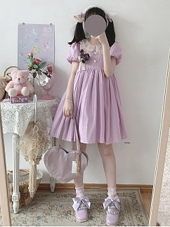Sweetheart Tart Vintage Light Purple Short Puff Sleeves Lolita Dress OP by Sleepy Doll