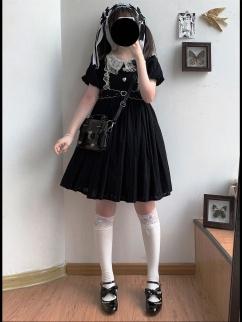 Sweetheart Tart Vintage Black Short Puff Sleeves Lolita Dress OP by Sleepy Doll