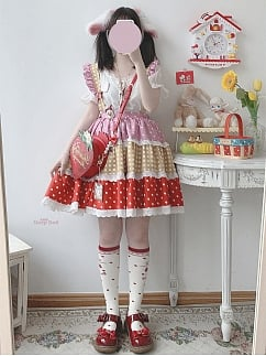 Fondant Puffs Cute Contrast Color Wave Point Tiered Skirt by Sleepy Doll