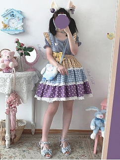 Fondant Puffs Contrast Color Wave Point Tiered Skirt by Sleepy Doll