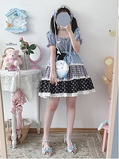 Fondant Puffs Cute Wave Point Lace Trim Tiered Skirt by Sleepy Doll