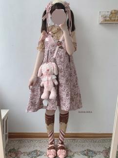 Sculptural Garden Vintage Pink Sweetheart Neckline Bowknot Decorative Jacquard Cami Dress by Sleepy Doll