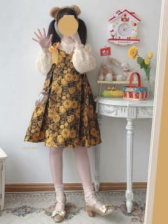 Sculptural Garden Vintage Sunflower Sweetheart Neckline Bowknot Decorative Jacquard Cami Dress by Sleepy Doll