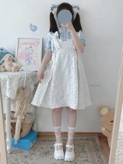 Sculptural Garden Vintage White Sweetheart Neckline Bowknot Decorative Jacquard Cami Dress by Sleepy Doll