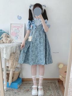 Sculptural Garden Vintage Blue Sweetheart Neckline Bowknot Decorative Jacquard Cami Dress by Sleepy Doll