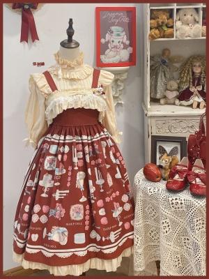 Apple Afternoon Tea Berry Red Ruffled Square Neckline Print Elegant Lolita Dress JSK by Sleepy Doll