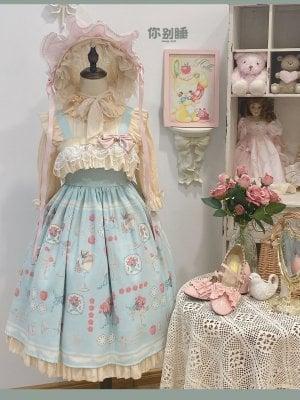 Apple Afternoon Tea Milk Green Ruffled Square Neckline Print Elegant Lolita Dress JSK by Sleepy Doll
