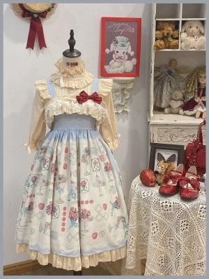 Apple Afternoon Tea Light Blue Ruffled Square Neckline Print Elegant Lolita Dress JSK by Sleepy Doll