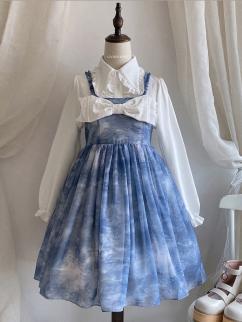 Poem of Fog and Wind Blue Square Neckline Print Elegant Lolita Dress JSK