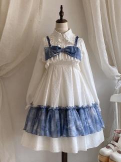 Poem of Fog and Wind White Square Neckline Print Elegant Lolita Dress JSK