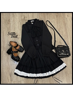 Vintage Pointed Collar Long Sleeves Lolita Shirt With Removable Flounce Tie