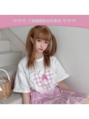 Sanrio Authorized Heart Shaped My Melody Prints T-shirt by MiTang Baby
