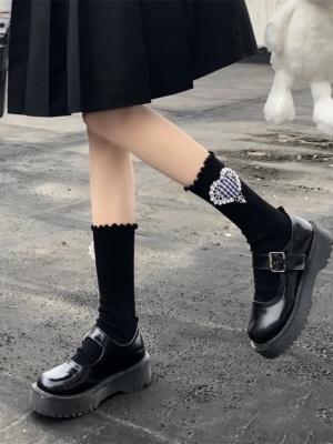 JK White / Black Heart-shaped Lolita Stockings