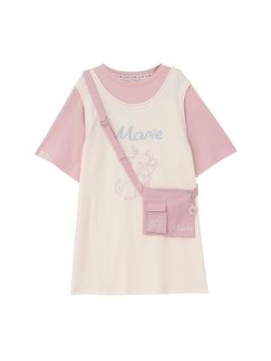 Disney Authorized Marie Kitten Round Neckline Long T-shirt Dress by Mori Tribe