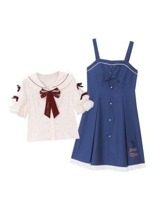 Disney Authorized Snow White Sailor Collar Top / Overall Dress Set by Mori Tribe