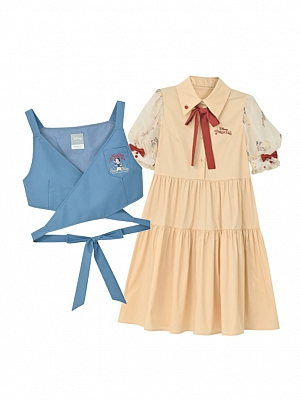 Disney Authorized Snow White Puff Sleeves Dress / Vest Two-pieces Set by Mori Tribe