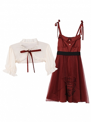 Disney Authorized Snow White Short Outerwear / Red Cami Dress Two-pieces Set by Mori Tribe