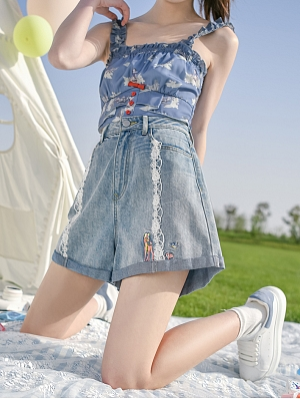 Disney Authorized Snow White Denim Shorts by Mori Tribe