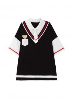 Card Captor Sakura Authorized Cerberus Fake Two-pieces Design Polo T-shirt by Mori Tribe