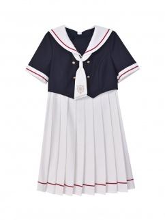 Card Captor Sakura Authorized Sailor Collar Pleated Skirt JK Uniform Dress by Mori Tribe