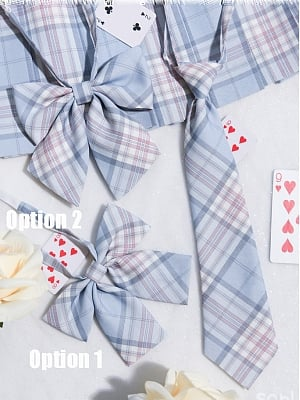 Disney Authorized Alice in Wonderland Plaid Skirt Matching Bow Tie / Tie by Mori Tribe
