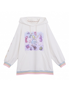 Disney Authorized Alice in Wonderland Prints front White Hoodie by Mori Tribe
