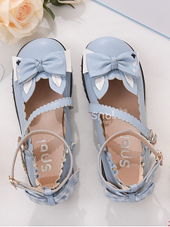 Bowknot front Round Toe Light Blue Lolita Shoes by Mori Tribe