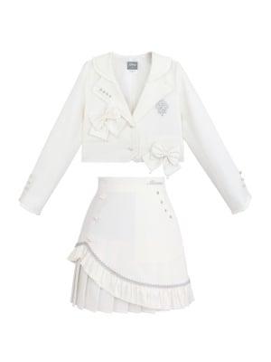 Disney Authorized The White Queen Lapel Collar Jacket / Flounce Hemline Skirt