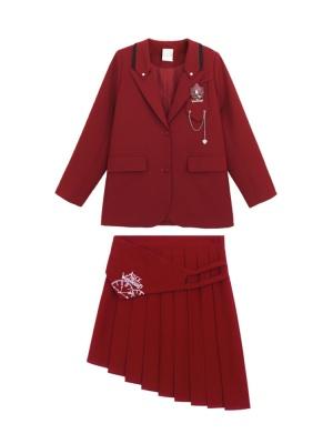 Disney Authorized The Red Queen Lapel Collar Jacket / Asymmetrical Hemline Pleated Skirt