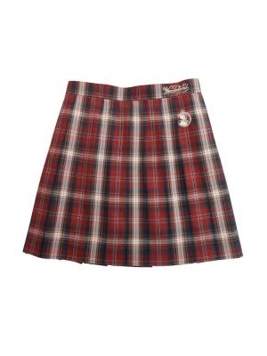 Disney Authorized Alice in Wonderland The Red Queen Pleated Skirt JK Uniform Skirt