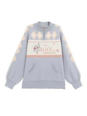 Disney Authorized Alice in Wonderland Half-zipper Stand Collar Sweater