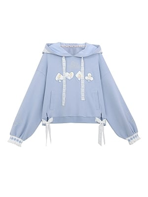 Disney Authorized Alice in Wonderland Embroidery Light Blue Hoodie