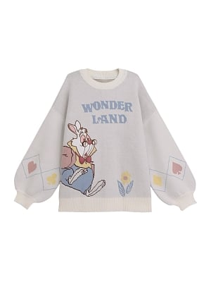 Disney Authorized Alice in Wonderland Round Neckline Sweater