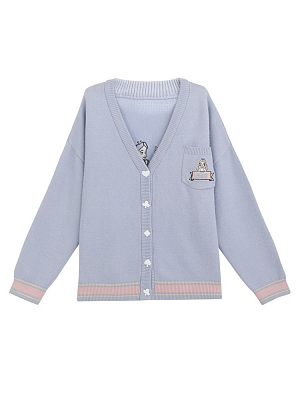 Disney Authorized Alice in Wonderland V-neckline Embroidery Back Cardigan