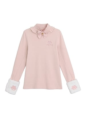 Disney Authorized Marie Cat High Neck Plush Cuffs with Embroidery Pink T-shirt