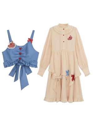 Disney Authorized Snow White Blue Vest / Long Sleeves Dress Two-pieces Set