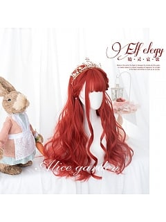 Red Long Curly Synthetic Lolita Wig by Alice Garden