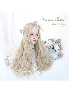 Beige Gold Center Point Long Curly Synthetic Lolita Wig by Alice Garden