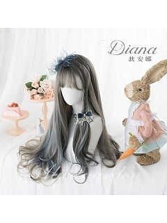 Aoki Gray Blue  Long Curly Synthetic Lolita Wig by Alice Garden