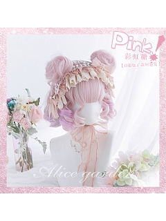 Candy Pink Short Roman Roll Synthetic Lolita Wig by Alice Garden