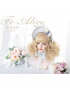 Sand Gold Short Doll Curly Synthetic Lolita Wig by Alice Garden