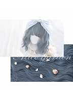 Gray Blue Long Big Wave Curly Synthetic Lolita Wig by Alice Garden