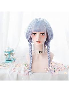 Blue Pink Gradient Air Bangs Long Curly Synthetic Lolita Wig by Alice Garden