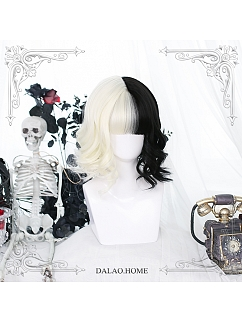 Cathode Black and White Short Curly Synthetic Lolita Wig by Dalao Home