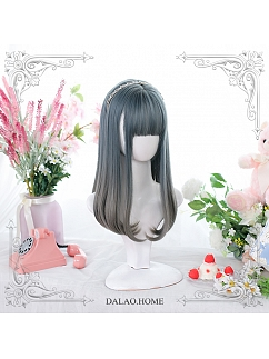 Blue Yan Mid-Length Straight Inner Button Synthetic Lolita Wig by Dalao Home