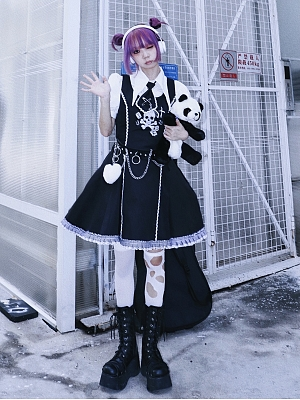 Skull Band Punk Round Neckline Overall Dress by Wine Meat Market