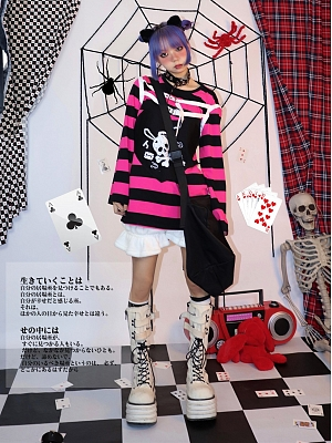 Punk Round Neckline Long Sleeves Skull Stripe Top