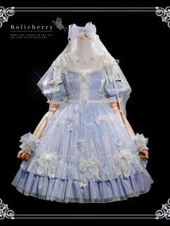 Heartbeat for a Moment Square Neckline Short Puff Sleeves Elegant Lolita Dress OP Full Set